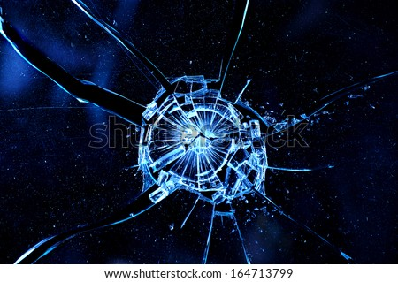 closeup abstract broken cracked glass  - stock photo
