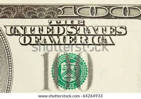 closeup abstract of $100 bill in US currency - stock photo