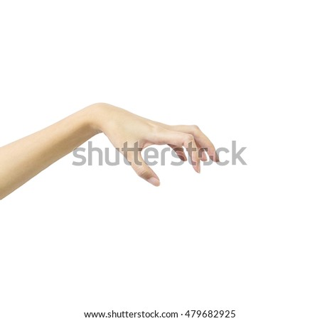 Closeup action of woman hand catching and hold something in hand isolated on black background with clipping path