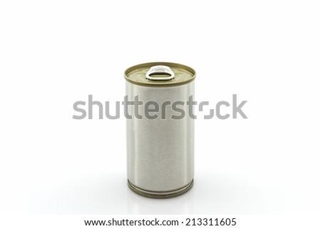 Closeup aluminum tin can on white background.  - stock photo
