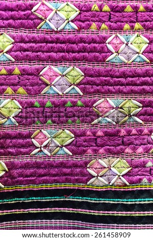 Closeup ancient Karen woven cloth in thailand. - stock photo