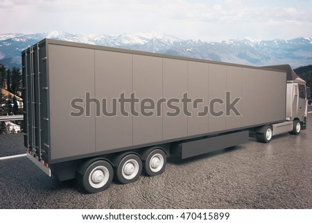 Closeup and side view of empty black truck trailer on landscape background. Mock up, 3D Rendering