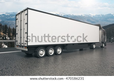 Closeup and side view of empty white truck trailer on landscape background. Mock up, 3D Rendering