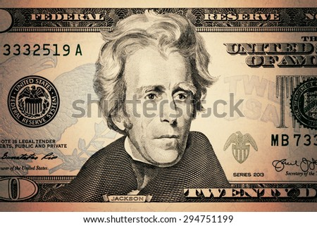 closeup Andrew Jackson face on the US $20 dollar bill. - stock photo