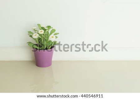 Closeup artificial plant with white flower on purple pot on blurred marble floor and white cement wall textured background - stock photo