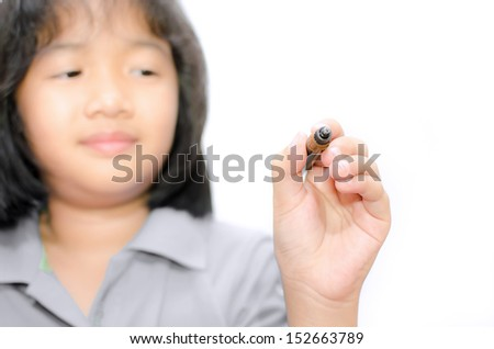 Closeup asian little girl writing on empty screen, Isolated on white - stock photo