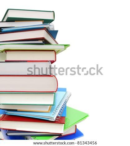 Closeup at educational book pile - stock photo
