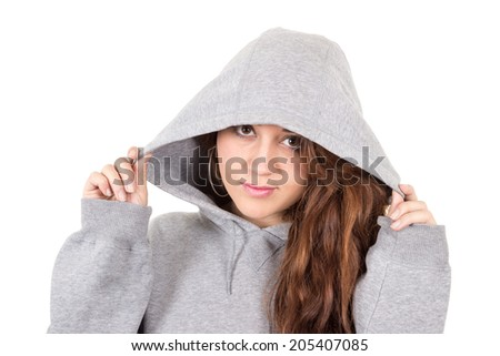 closeup attractive young red haired girl wearing grey hoodie isolated over white