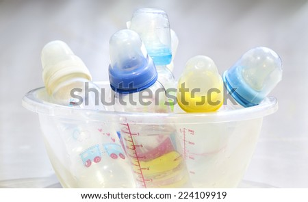 closeup Baby bottles - stock photo