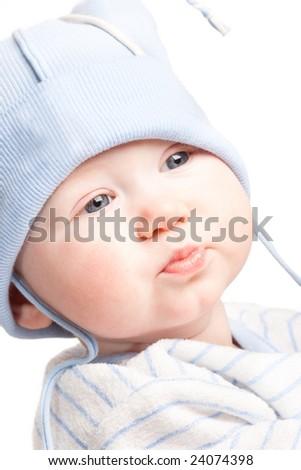 closeup baby boy portrait, white background - stock photo