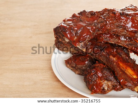 closeup barbecue beef spare ribs
