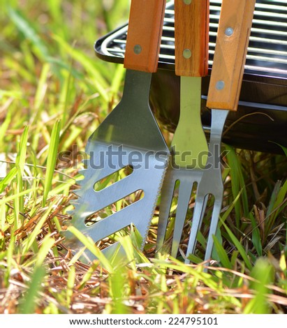 Closeup barbecue tools  - stock photo
