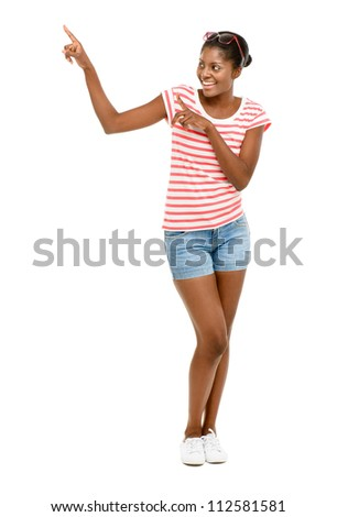 Closeup Beautiful African American Fashion Model white background - stock photo