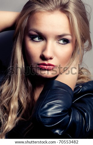 closeup beautiful blonde woman portrait, rock style - stock photo