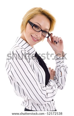 Closeup. Beautiful young Businesswoman wearing glasses, isolated on white background - stock photo