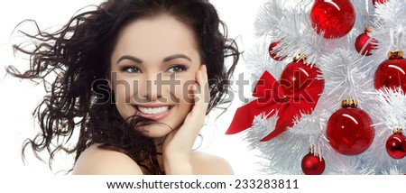 closeup beauty portrait of attractive  caucasian smiling woman - stock photo