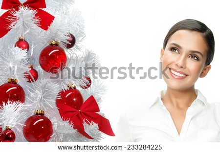 closeup beauty portrait of attractive  caucasian smiling woman brunette isolated on white - stock photo