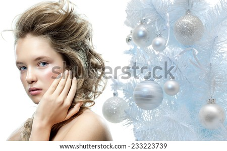closeup beauty portrait of attractive  caucasian woman isolated on white  - stock photo