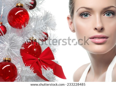 closeup beauty portrait of attractive  caucasian young woman isolated on white