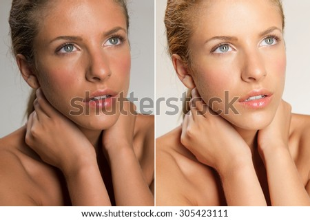 closeup beauty portrait of beautiful woman touching her neck, looking into the light before and after retouching - stock photo