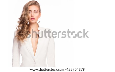 Closeup beauty portrait of young attractive woman with glamour makeup and curly hair. Elegant style. Studio shot. - stock photo
