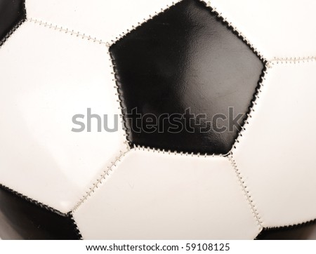 closeup big black and white soccer ball on the white background - stock photo
