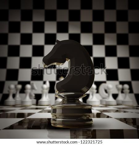 closeup Black chess horse background 3d illustration. high resolution - stock photo