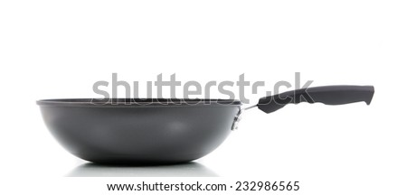 Closeup black frying pan isolated on over white background - stock photo