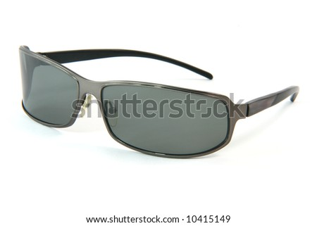 closeup black modern sun glasses isolated on white background fashion concepts - stock photo