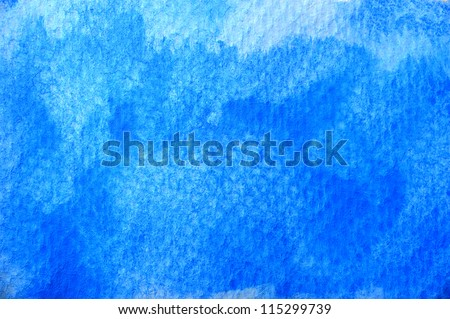 closeup blue water color on paper - stock photo