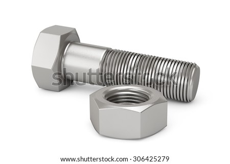 Closeup Bolt and Nut on a white background - stock photo