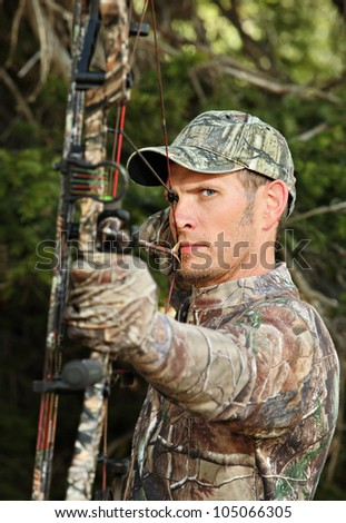 closeup bow hunter - stock photo