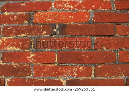closeup brick wall, red brick wall background - stock photo