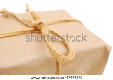 closeup brown parcel gift - stock photo