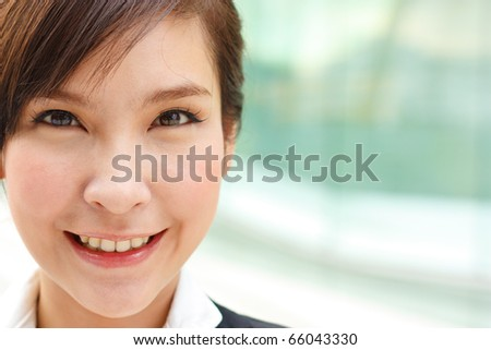 Closeup business portrait with large space for your message