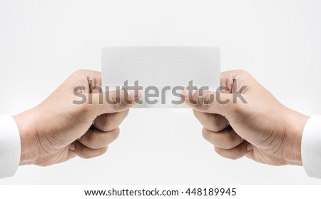 Closeup businessman hand wearing white showing blank paper card isolated on white background. - stock photo