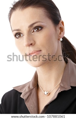 Closeup businesswoman portrait, looking confident and determined. - stock photo