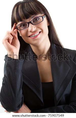 closeup businesswoman  portrait wearing glasses over white