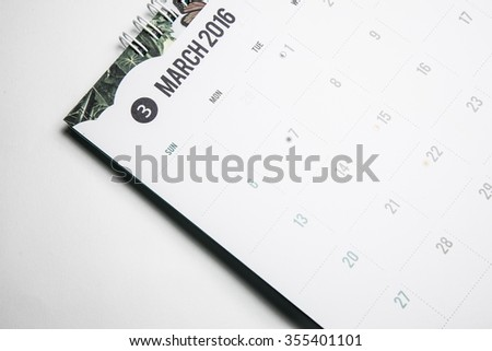 Closeup  calendar 2016 MARCH in dark tone. - stock photo
