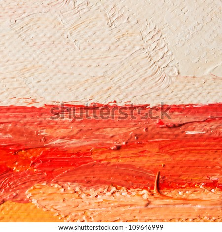 Closeup canvas with oil paint brush lines - stock photo