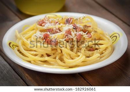 closeup carbonara spaghetti - stock photo