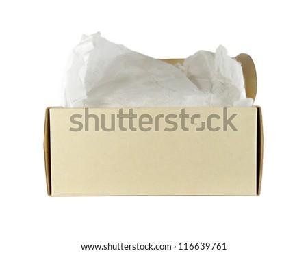 Closeup cardboard box, isolated on white background. - stock photo