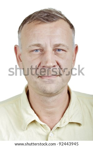 Closeup character portrait of a regular every day handsome man of Russian origin in his forties with blue eyes looking at the camera, isolated on white background - stock photo