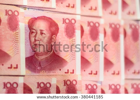 Closeup Chinese currency. Renminbi.