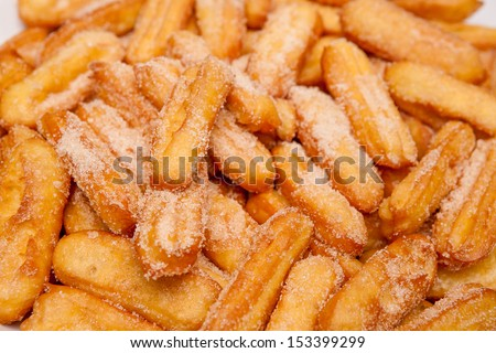 Closeup churros, a typical Spanish sweet - stock photo