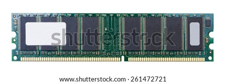 Closeup circuit board of computers memorys module isolated on white - stock photo
