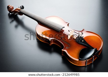 closeup classical violin on black background - stock photo