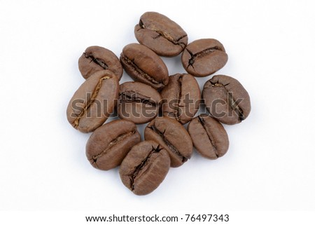 Closeup coffee beans in white background