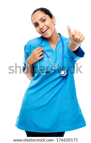 Closeup confident Indian doctor surgeon thumbs up isolated on white background - stock photo