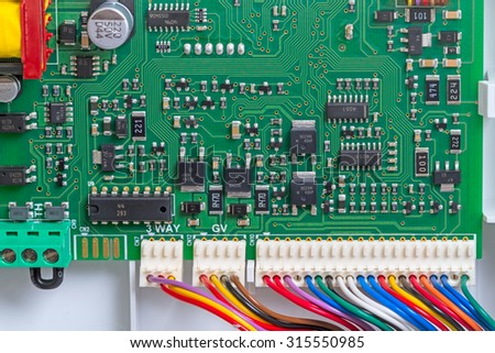Closeup control board view from the top. Technological background
